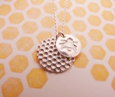 Silver #Bee and Large Hive Necklace $44 #etsy
