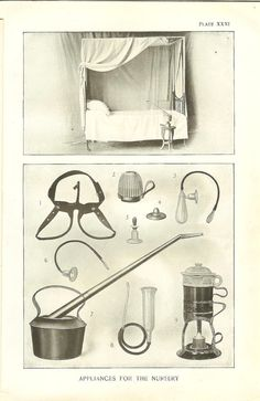 """1898 Antique Medical Print Paediatric Medical Appliances Medical Equipment  Children Treatment Bronchitis Catheter Truss Vintage Bookplate. Antique engraved medical print """"Appliances For The Nursery """" from a book entitled """" The Household Physician"""" published in 1898 by Blackie & Son Limited. The bookplate shows medical equipment used in the treatment of children with bronchitis as well as other paediatric medical appliances including a catheter, truss, nipple shield etc"""