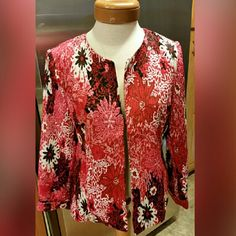 Joni B. Jacket Size Medium Joni B. Jacket Size Medium  lots of pinks, white & black.  The shell and lining are both 100% polyester. Thank you for shopping my closet if you have any questions please ask before purchasing. Joni B.  Jackets & Coats