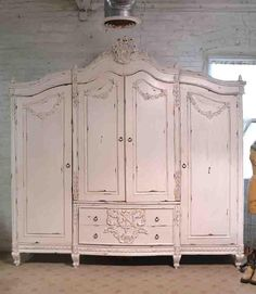 French Armoire Painted Cottage Chic Shabby French Romantic Armoire/ Wardrobe / Media Cabinet b Shabby Chic Bedrooms, Shabby Chic Homes, Shabby Chic Furniture, Shabby Chic Decor, Painted Furniture, Vintage Furniture, Pink Furniture, Romantic Bedrooms, Small Bedrooms