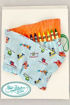 Let their imaginations sore with this airplane-themed crayon holder!  Holds 24 crayons securely with elastic  Budget-friendly gift and easy to ship with gift wrap available in my etsy shop!
