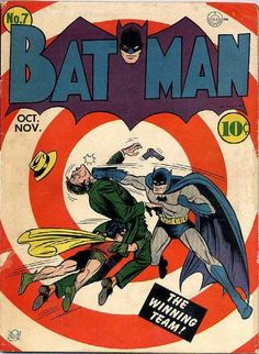 Classic Bullseye Cover by Bob Kane. Batman begins working with the police in this issue. BATMAN D. Comics October / November All original with no restoration. Supple white pages. Batman Comic Books, Comic Book Heroes, Comic Books Art, Comic Art, Vintage Comic Books, Vintage Comics, Batman And Superman, Spiderman, Dc Comics