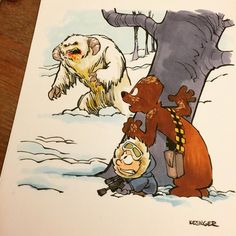 Color commission of lil Han and chewy encountering the wild life of hoth! #calvinandhobbes #starwars #mashup