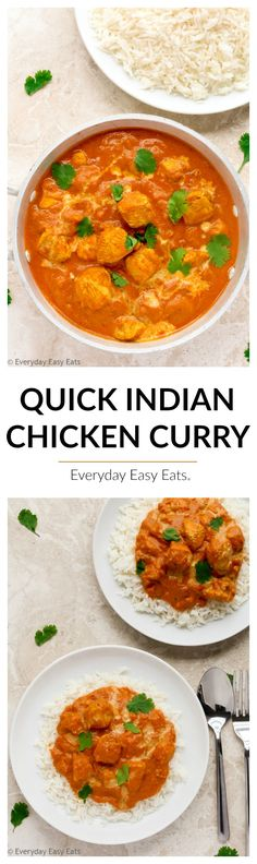 This Quick Indian Chicken Curry recipe is hearty, flavorful and ready to eat in just 30 minutes.   EverydayEasyEats.com