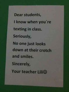 This teacher whose :) didn't detract from the serious message. Awesome teachers.