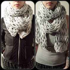 Items similar to Chunky Scarf - double wrap scarf chunky textured knit grey verigated unisex on Etsy Knits, Warm, Trending Outfits, My Favorite Things, Knitting, Etsy, Clothes, Fashion, Outfits