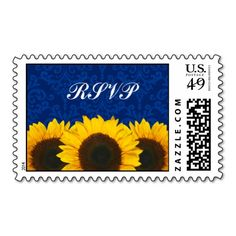 Sunflowers Blue Damask Wedding RSVP Postage Stamp. Make your own business card with this great design. All you need is to add your info to this template. Click the image to try it out!