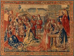 The Garden of Love Date: ca. Geography: Made in Brussels Culture: South Netherlandish Medium: Wool warp; wool, silk, and metallic wefts Dimensions: Overall: 120 x x Classification: Textiles-Tapestries Medieval Tapestry, Medieval Art, St Veronica, Textile Tapestry, Tapestries, 15th Century Clothing, Medieval Fashion, Tapestry Wall Hanging, Wall Hangings