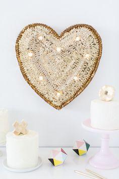 DIY Sequin Marquee Heart sugarandcloth.com