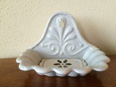 French Antique Enamel  Soap Dish Rare With by CRumpffCollectibles