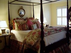 Master Bedroom Renovation with 4-Poster Bed and Plaid, Moire Bed Linens