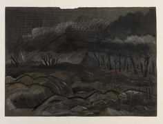 The War Art of Paul Nash (1917–1944) | View across a battle scarred Western Front landscape near Gheluveldt in Flanders, 1918.