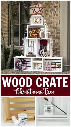 Create this project with Americana Decor® Outdoor Living™ — Stack wooden crates, painted with Americana Decor® Outdoor Living™, for a dramatic holiday decoration.