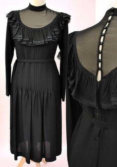 2697136725f Vintage Black Crepe LBD Cocktail Dress with Illusion Neckline Bust