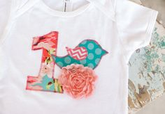Birthday Party Onesie with Bird in Teal Blue, Coral Pink, and Lime Green / Shabby Chic Couture / 1 Year Little Girl Number One on Etsy, $20.00