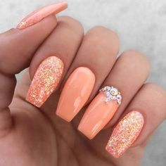 Are you looking for peach acrylic nails de… Girly peach glitter rhinestone nails. Are you looking for peach acrylic nails de…,Nägel ideen Girly peach glitter rhinestone nails. Peach Acrylic Nails, Colored Acrylic Nails, Peach Nails, Cute Acrylic Nails, Orange Nails, Cute Nails, My Nails, Coral Nails Glitter, Acrylic Nails For Summer Glitter