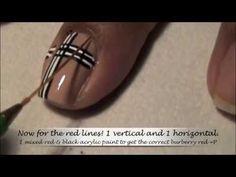 Burberry Print Nail Art Tutorial - YouTube