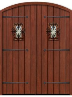 """Plank Arch Top Cherry, Alder & Walnut Double Door with Speakeasy & Iron Straps • 8' 0"""""""