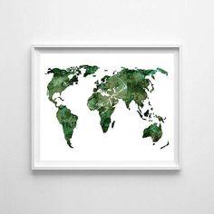 World map watercolor world map world map printable world