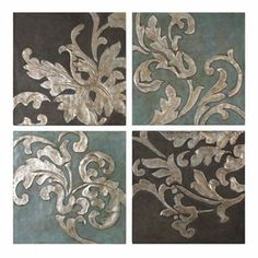 4-pc. Damask Relief Blocks Canvas Wall Art Set\  could try to mimic this with stencils and plaster on canvas. paint first, plaster second, silver leaf third?