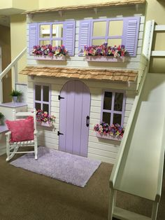 The Ultimate Custom Dollhouse Cottage Loft bed with Step Block Stairs w/ built-in storage and slide!