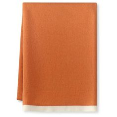 Cashmere Knit Throw With Contrast Edge, Orange/Ivory #williamssonoma