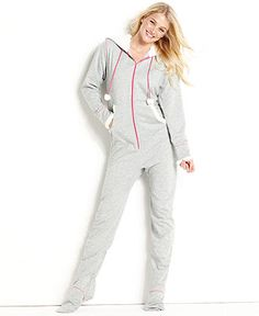 Jenni Pajamas, French Terry Footie Pajamas - Womens Lingerie - Macy's I want this! Pajamas For Teens, Cute Pajamas, Comfy Pajamas, Satin Pyjama Set, Pajama Set, Womens Pyjama Sets, Sleepwear Women, Latest Fashion For Women, Women Lingerie