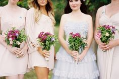I keep coming back to these delicate bridesmaid dresses in muted colors. Love that they're mismatched.