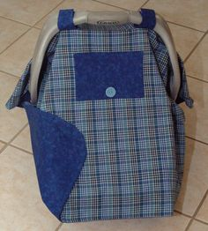 Blue Plaid Baby Car Seat Cover by Debsflorals on Etsy, $29.99