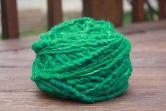 Evergreen Overspun Handspun Wool Yarn $26 Kimberly Handspun Handwoven SHOP www.nywhitestonefarm.com #handmade #handspun  #handdyed  #yarn #wool #knit #crochet #farm #gift #dyi #green #overspun