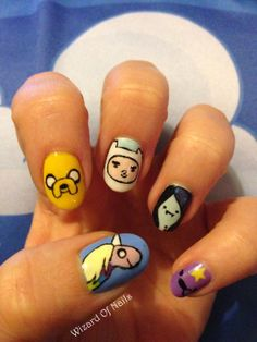 Adventure Time nail art with Lady Rainicorn, Jake, Finn, Marceline and Lumpy Space Princess!