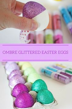 Need a new twist on traditional Easter egg decorating? These glittered ombre eggs are a show stopper! They're super easy to make and make a beautiful addition to any Easter egg basket or Easter egg hunt. Easter Egg Basket, Easter Egg Dye, Coloring Easter Eggs, Easter Play, Egg Decorating, Decorating Easter Eggs, Easter Decor, Easter Egg Designs, Easter Crafts For Kids