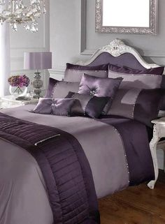 Terms Glamour Comforter Set: Kylie Minogue Yarona Mauve Bedding, From Purple Bedroom Decor, Silver Bedroom, Purple Bedrooms, Mauve Bedroom, Mauve Bedding, Purple Bedspread, Kylie Minogue At Home, My New Room, Beautiful Bedrooms