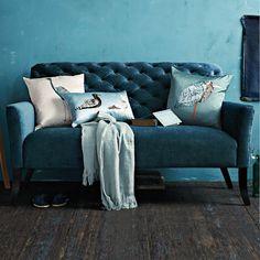 blue velvet settee