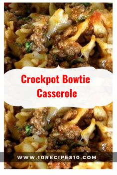 Crock Pot Bow tie Casserole recipe: Try this Crock Pot Bow tie Casserole recipe, or contribute your own. Casserole Recipes, Meat Recipes, Slow Cooker Recipes, Pasta Recipes, Crockpot Recipes, Dinner Recipes, Cooking Recipes, Ravioli Casserole, Crockpot Meat