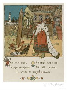 Illustration For the Poem The Tale of the Golden Cockerel by Alexander Pushkin Lámina giclée por Ivan Bilibin en AllPosters.es
