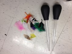 Turkey feather races:  Squeeze the turkey baster and race to see who can blow a feather across the table the fastest.