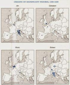 Mapa: El origen de las eminentes figuras culturales europeas entre los siglos XV y XX