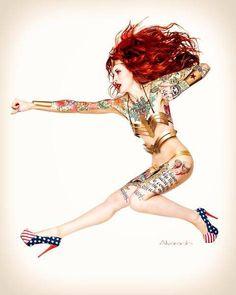 Sexy Tattooed Women  #inked #inkedgirls #model #tattooed #tattoo #sexy #tattoowoman