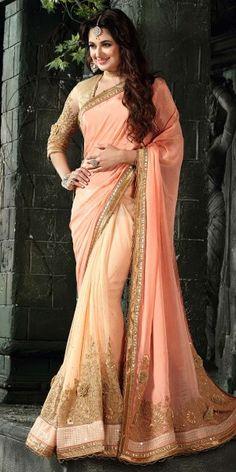 Dashing Orange Chiffon Saree.