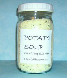 Homemade Dry Mixes, Homemade Spices, Homemade Seasonings, Dry Soup Mix, Soup Mixes, Spice Mixes, Spice Blends, Mason Jar Mixes, Homemade Potato Soup