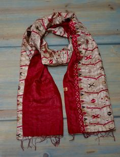 Kaya Silk Sari Scarf Traditional Kantha Stitch by KokoCollective
