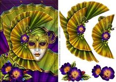 Masquerade on Craftsuprint designed by Chris Harland - A step by step card front with mask and flower decoupage - Now available for download!
