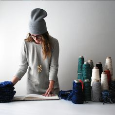 Designing in the studio / Hand knit and woven accessories / www.aportashop.com