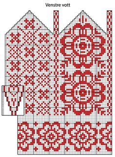 Klassiske votter og pannebånd med tradisjonsmønster i rødt og hvitt