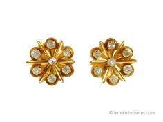 Vintage 1950s Starburst Rhinestone Earrings by LemonKitscharms