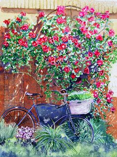 """""""The Bike At Bistro Jeanty Napa Valley"""" by Gail Chandler"""