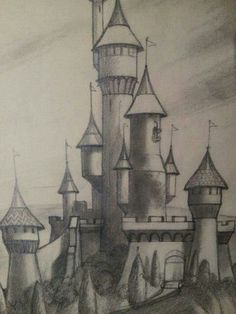 #ConceptArt Pencil drawing of the Happy Valley Castle from #FunAndFancyFree.  On display at the Walt Disney Family Museum.