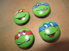 Teenage Mutant Ninja Turtle Hand Painted Dresser Knobs - Craft for Boys Turtle Painting, Pebble Painting, Pebble Art, Stone Painting, Stone Crafts, Rock Crafts, Arts And Crafts, Rock Painting Designs, Paint Designs