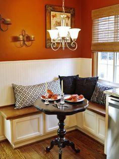 L-Shaped Banquette for a Small Kitchen http://www.hgtv.com/kitchens/tips-for-turning-your-small-kitchen-into-an-eat-in-kitchen/pictures/page-2.html?soc=pinterest